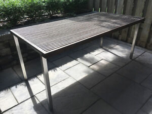 Teak & Stainless Outdoor Dining Table