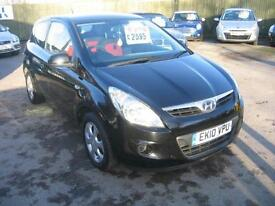 2010 HYUNDAI i20 1.2 COMFORT 3 DOOR HATCH IN BLACK ,LOW TAX