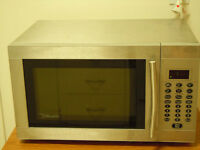 Silver silhouette microwave oven