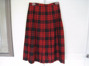 1970's Rouget Red Black Plaid Pleated Skirt by Highland Queen