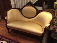 042: Cameo Back Settee Newly Upholstered in Gold Satin