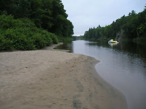 Camp on goulais river fish or swim close to stores and city