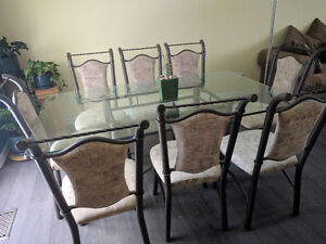 Glass Dining Room Table & 8 Chairs