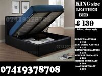 TRENDY King SIZE LEATHER BED FRAME