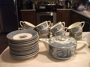 rare currier and ives teapot and 12 cups and saucers