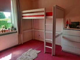 White wooden high sleeper single bed