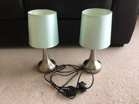 Pair of brushed steel touch lamps with duck egg shades
