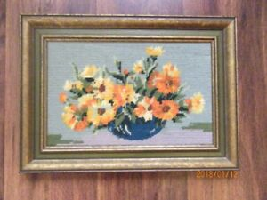 "Needlepoint Framed Picture - ""Flowers in a Bowl"""