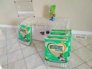 Great Guinea pig cage w accessories/ CareFresh bedding 60 Liter