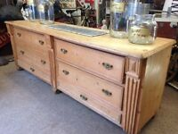 Victorian pine shop counter / kitchen sideboard etc