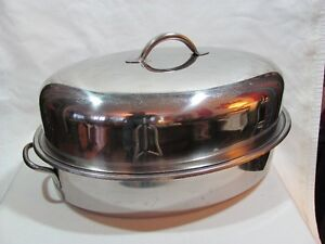 Old Heavy Stainless Steel Roaster With Basting Grill