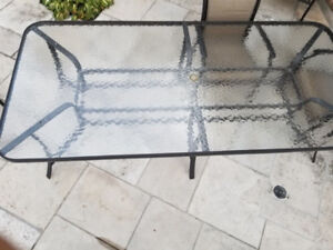 Aluminum and glass outdoor patio table 48 x102 made by Heidt