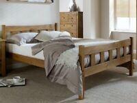 Solid, waxed oil finish, kingsize, double, bed frame, wooden, with memory 12 depth mattress.