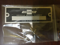 CHEVROLET  VIN PLATE DATA PLATE SERIAL NUMBER ID TAG