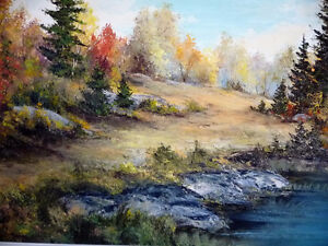"""Panoramic Countryside by E. Benninger """"Across the River"""" 1970's Stratford Kitchener Area image 2"""