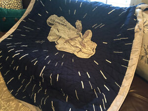 Pottery Barn Millenium Falcon twin bed quilt & Sham