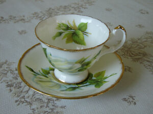Paragon E50H white yellow Rose cup and saucer near mint cond