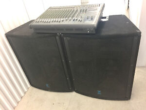 Powerful Yorkville PA system - Powermax mixer and Elite speakers