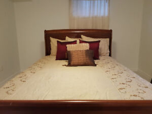 Cream/tan queen &double  comforter, curtains and bedroom picture