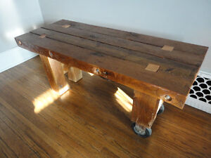 "Coffee Table 3"" thick, reclaimed barn beams. London Ontario image 2"