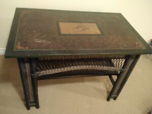 Vintage wicker desk and chairs