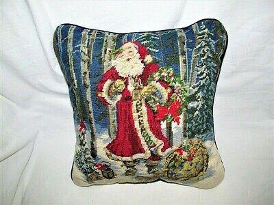 """VTG 12"""" OLD WORLD SANTA CHRISTMAS WOOL NEEDLEPOINT THROW PILLOW VELVET BACK EUC"""