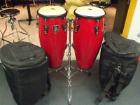 LATIN PERCUSSION CONGA SET WITH TRIPOD AND SOFT CASES