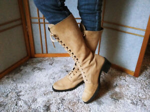Made in Italy womens suede laceup boots, size 9