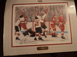 """PAUL HENDERSON PRINT"""" THE GOAL """" & SIGNED BOOK"""