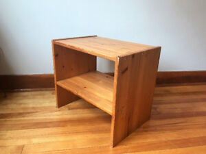 Side Table with Shelf Solid Wood