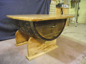 RUSTIC WHISKEY BARREL COFFEE TABLE