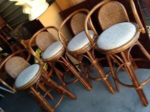 Set Of Four Rattan Bar/Counter Height Stools 30''