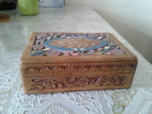 Vintage indian hand carved wood jewelry box
