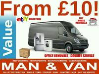 CHEAPEST SHORT NOTICE MAN AND VAN REMOVALS FURNITURE COLLECTION DELIVERY BED SOFA COURIER