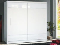 **7-DAY MONEY BACK GUARANTEE!**- Tetra High Gloss Sliding Door Wardrobe - SAME/NEXT DAY DELIVERY!