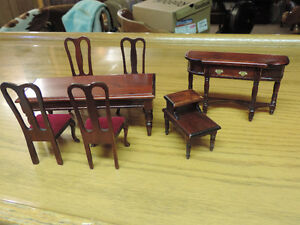 vintage miniature dark wooden dollhouse set