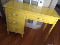Solid yellow desk