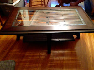 Walnut color wood with glass inset