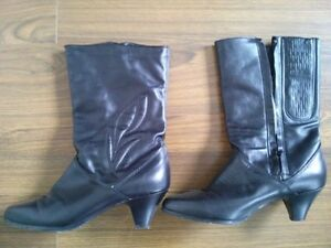 Size 8.5 Black Mid Calf Boots - Canadian Made