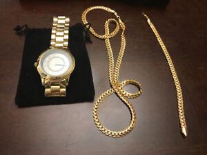 Synthetic Gold Watch, Bracelet, and Nevklace Set