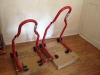 2x New Warrior Motorbike paddock stands (front and rear)