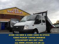 2013 63 FORD TRANSIT 350 LWB CREWCAB ALLOY TIPPER LOW MLS 59000 ONLY DIESEL