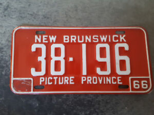 single 1966 New Brunswick License Plate in Excellent condition