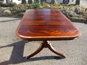 """Superb High End 105"""" Flame Mahogany Dining Table, Chairs, Buffet"""