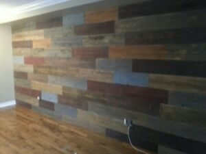 Custom barn wood feature walls