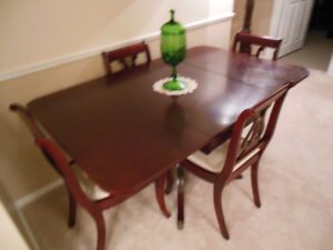 SMALL DARK MAHOGANY DROP LEAF DINING TABLE  and CHAIRS