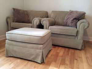 Armchairs and ottoman.