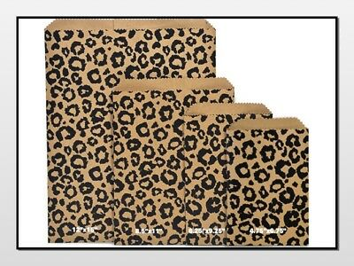 Flat Paper Bags (Black LEOPARD Print Flat Paper Merchandise Bags Choose Size & Package)