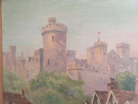 Oil painting of durham city cathedral and bridge ,signed