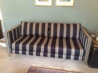Modern 3 Seater Sofa in Villa Nova fabric with polished metal legs